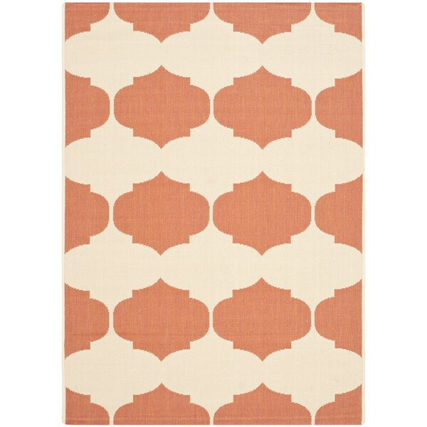 Short Beige/Terracotta Contemporary Rug by Winston Porter