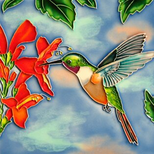 Hummingbird with Flower Face Lift Tile Wall Decor by Continental Art Center