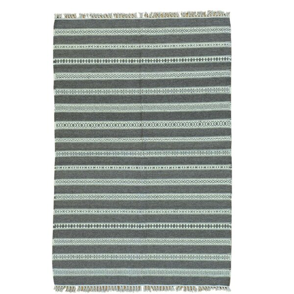 Reversible Flat Weave Kilim Hand-Knotted Gray Area Rug by Bloomsbury Market