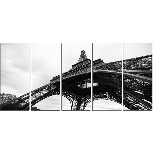 Paris Eiffel Tower in Black and White Side View 5 Piece Photographic Print on Wrapped Canvas Set by Design Art