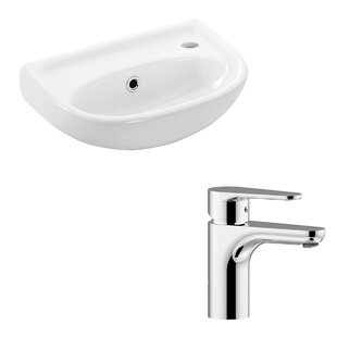 Affordable Basic Ceramic 16 Wall Mount Bathroom Sink with Faucet and Overflow By WS Bath Collections