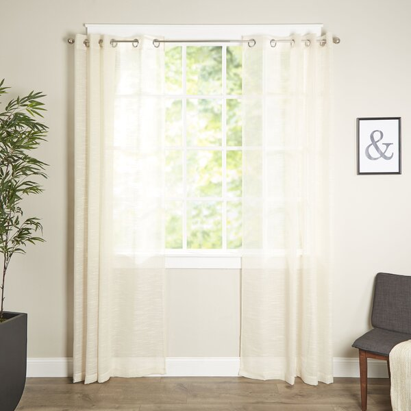 Letterly Solid Semi-Sheer Grommet Single Curtain Panel by Wrought Studio