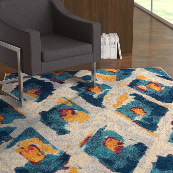 Angie Ikat Moroccan Trellis Blue/Gray Area Rug by Ebern Designs