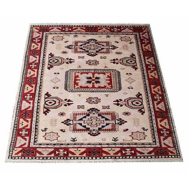 Auguste Hand-Knotted Silk Cream Area Rug by Bloomsbury Market