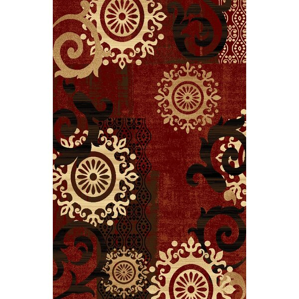 Classen Medallion Burgundy Area Rug by Fleur De Lis Living