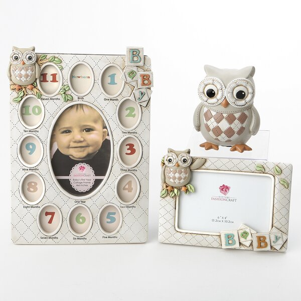 Baxter 3 Piece Vintage Owl Polyresin Picture Frame Set by Harriet Bee