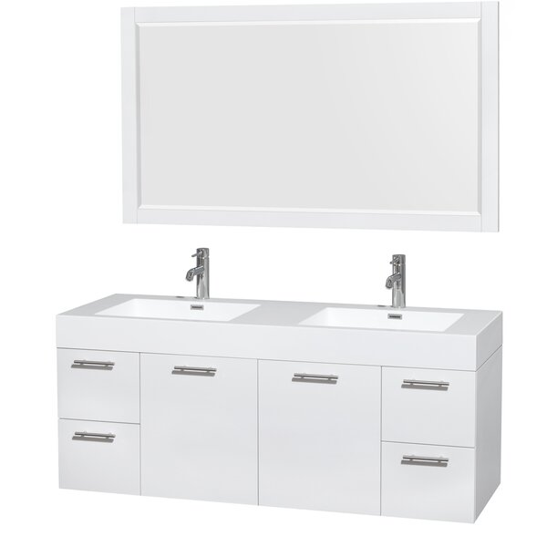 Amare 60 Double Bathroom Vanity Set with Mirror by Wyndham Collection
