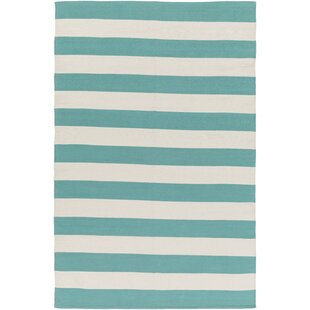 Inexpensive Cybulski Handmade Aqua Blue/Ivory Area Rug By Breakwater Bay