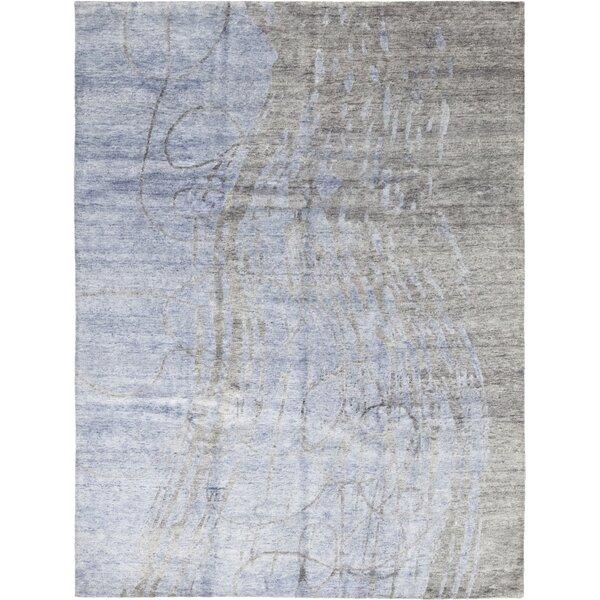 One-of-a-Kind Crownover Hand-Knotted Wool Blue Indoor Area Rug by Isabelline