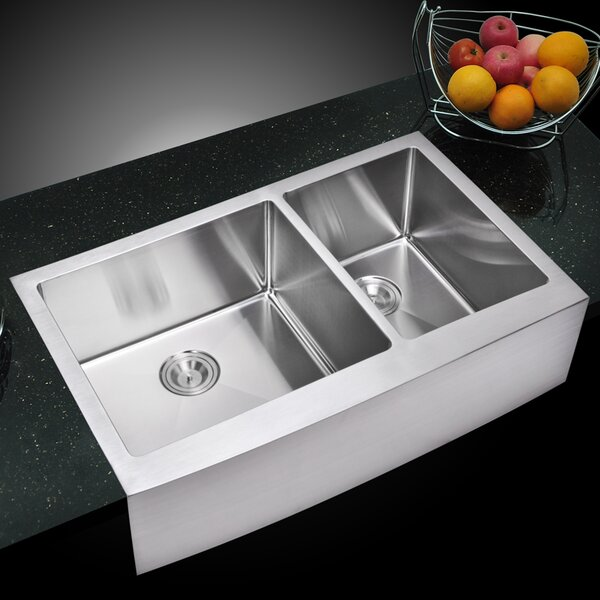 0.59 Corner Radius 60/40 Stainless Steel 36 L x 22 W Double Apron Kitchen Sink with Drain, Strainer and Bottom Grid by dCOR design