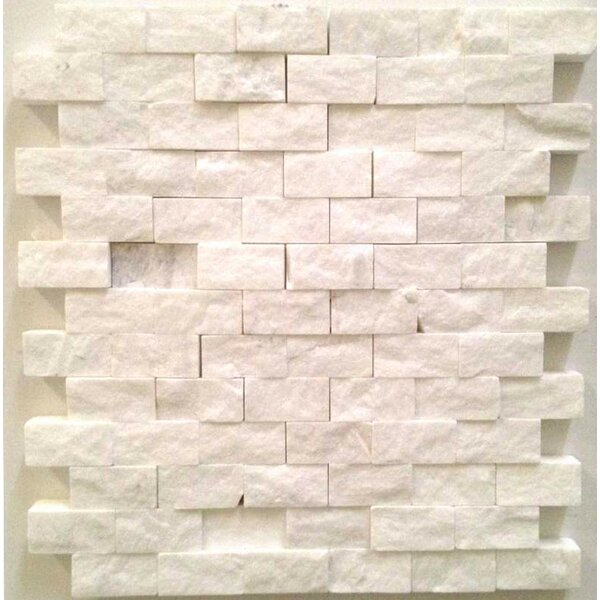 1 x 2 Marble Splitface Tile in White by Ephesus Stones