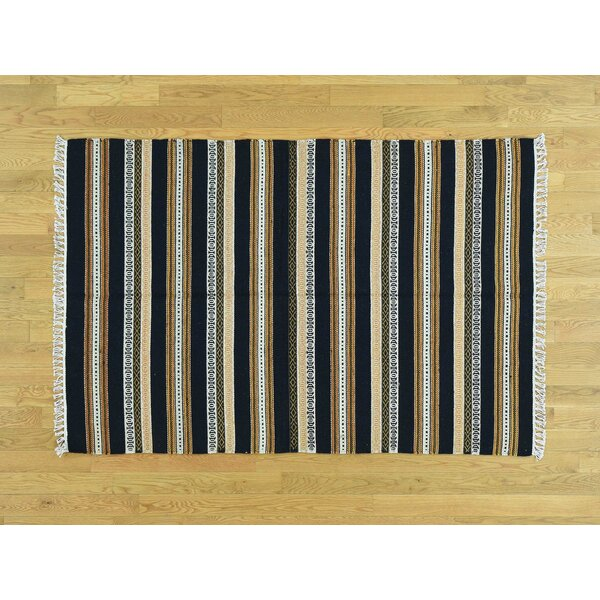 One-of-a-Kind Bee Striped Reversible Handmade Kilim Wool Area Rug by Isabelline