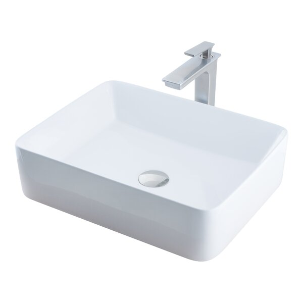Ceramic Rectangular Vessel Bathroom Sink with Faucet by Novatto