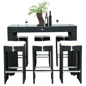 Haddox 7 Piece Bar Height Dining Set with Cushions