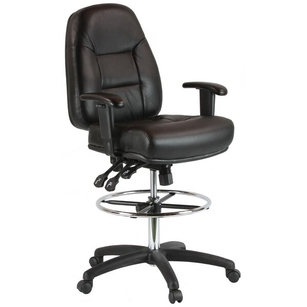 Mid-Back Leather Drafting Chair by Harwick Furniture