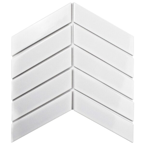 Retro Soho Chevron 1.75 x 7 Porcelain Field Tile in White by EliteTile