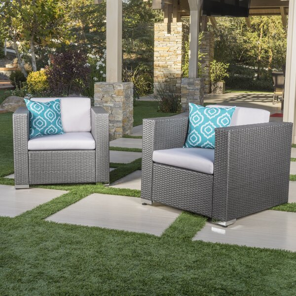 Tildenville Patio Chair with Cushion (Set of 2) by Greyleigh