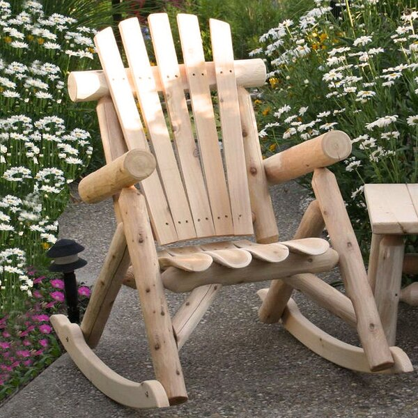 Welles Solid Wood Rocking Adirondack Chair by Symple Stuff Symple Stuff