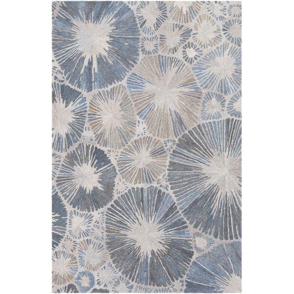 Novack Hand-Tufted Wool Blue/Navy Area Rug by Ebern Designs