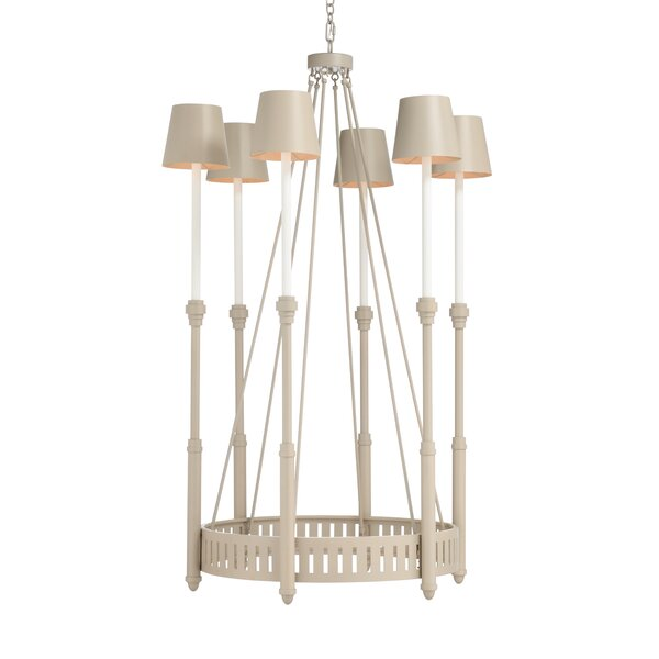 6 - Light Candle Style Wagon Wheel Chandelier By Frederick Cooper