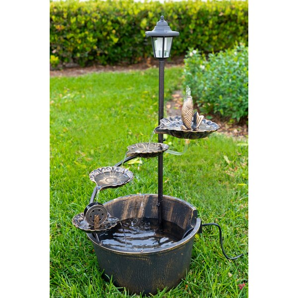 Metal Solar LED Tiered Fountain with Fish by Alpine