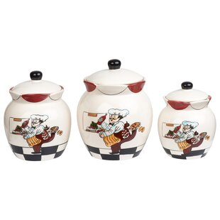 Chef Ceramic Deluxe 3 Piece Kitchen Canister Set  sc 1 st  Wayfair & Fat Chef Canister Set | Wayfair