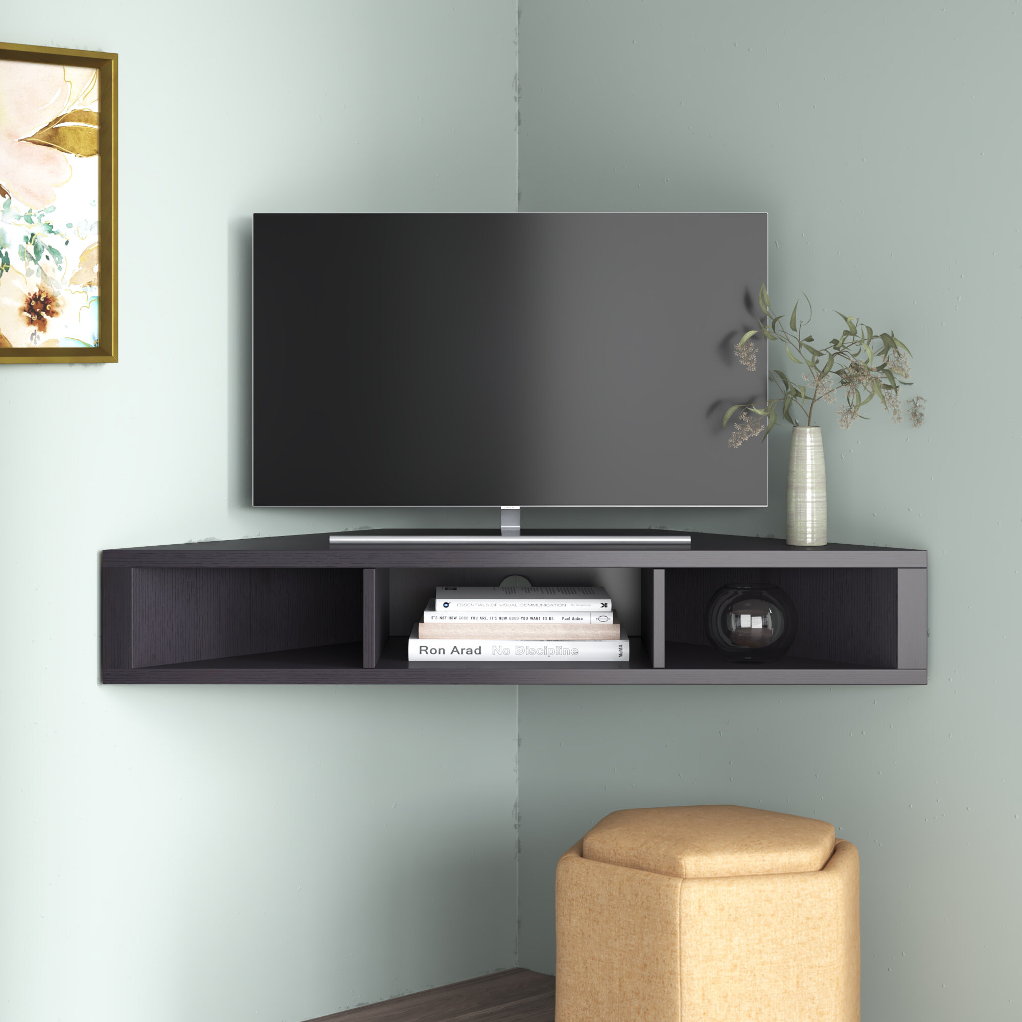 Ebern Designs French Floating Corner Tv Stand For Tvs Up To 50 Reviews Wayfair