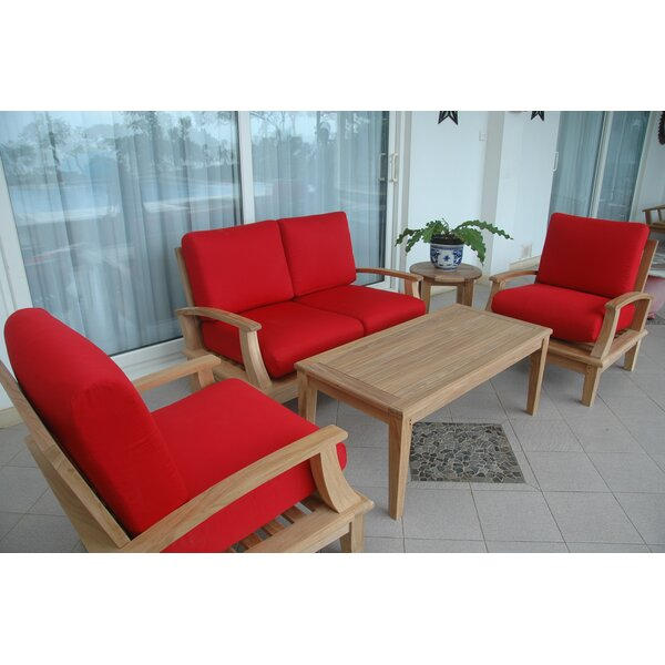 Bourgoin 4 Piece Teak Sunbrella Sofa Seating Group with Cushions by Freeport Park