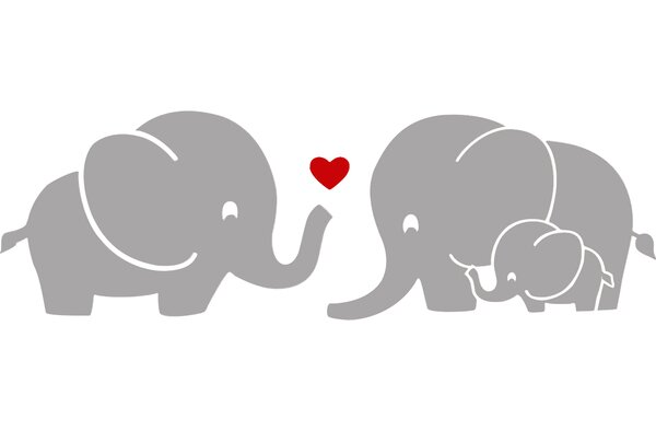 Elephant Family with Red Heart Wall Decal by Decal the Walls