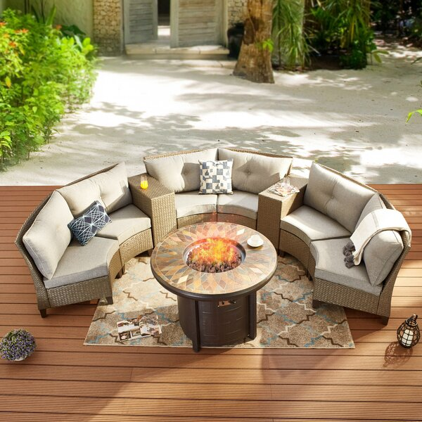 Salena 9 Piece Rattan Sofa Seating Group with Cushions by Highland Dunes