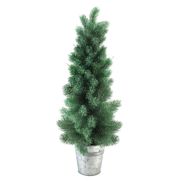 25 Green Mini Pine Artificial Christmas Tree in Tin Vase by The Holiday Aisle