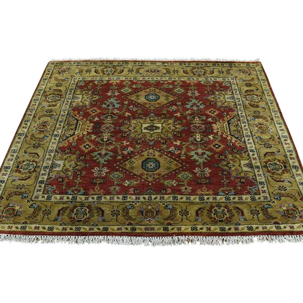 One-of-a-Kind Lavinia Hand-Knotted Red Area Rug by Canora Grey