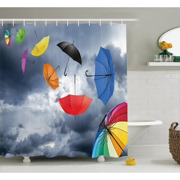 Dark Cumulus Decor Shower Curtain by East Urban Home