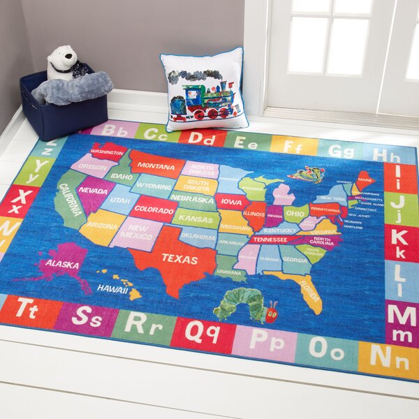 US Map with Alphabet Educational Blue Area Rug by Eric Carle