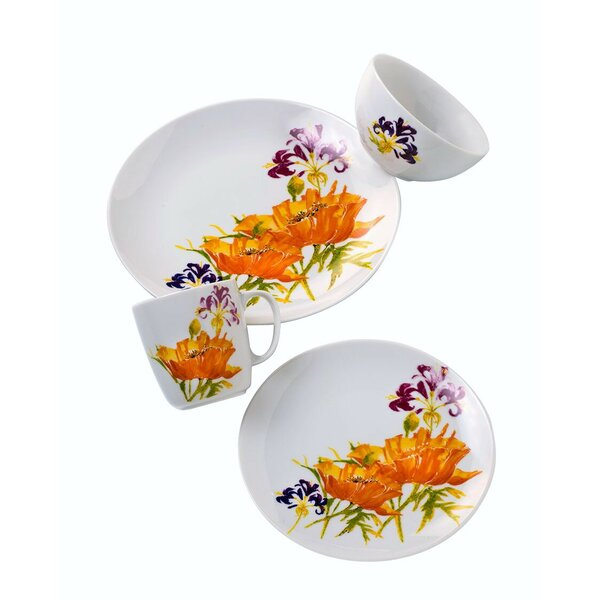 Tiger Lilly 16 Piece Dinnerware Set, Service for 4 by Euro Ceramica