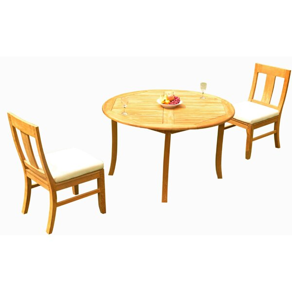 Kevon 3 Piece Teak Bistro Set by Rosecliff Heights