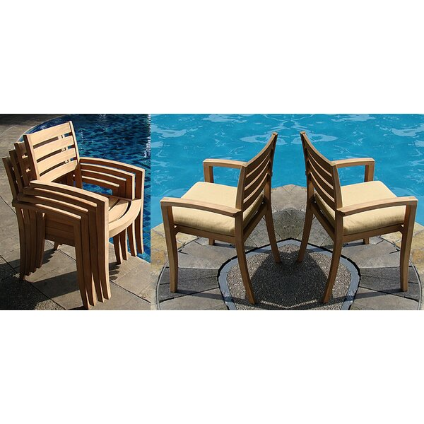 Dossett Stacking Teak Patio Dining Chair (Set of 6) by Rosecliff Heights