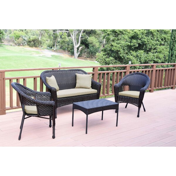 Weaver Conversation 4 Piece Sofa Seating Group with Cushions by Bay Isle Home