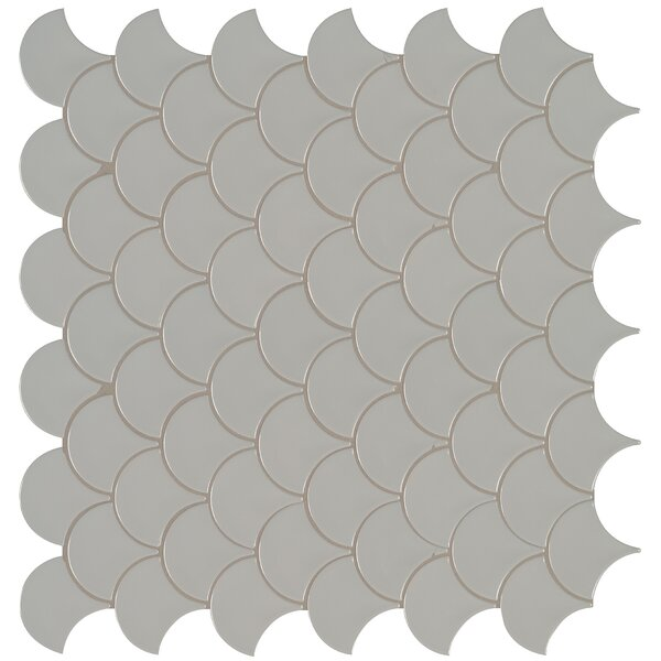 Domino Fish Scale Mesh Mounted Porcelain Mosaic Tile in Gray by MSI