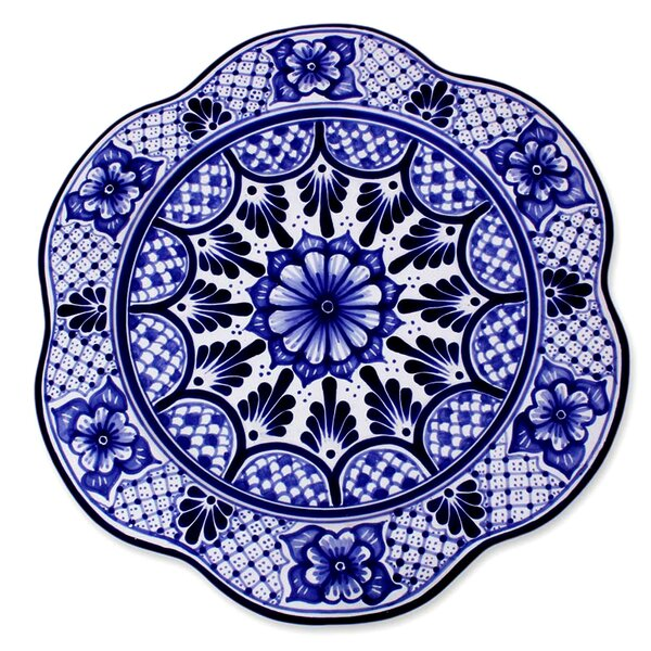 Floral Artisan Hand-Crafted Ceramic Platter by Novica