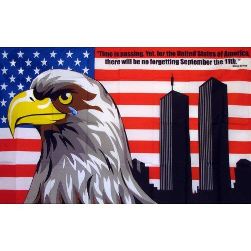 USA No Forgetting 9/11 with Eagle Traditional Flag