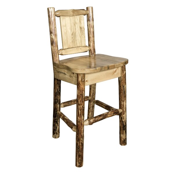 Southborough Rustic 24 Solid Wood Full Back Bar Stool by Loon Peak