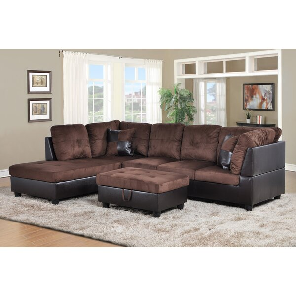 The Most Stylish And Classic Akash Sectional with Ottoman by Latitude Run by Latitude Run
