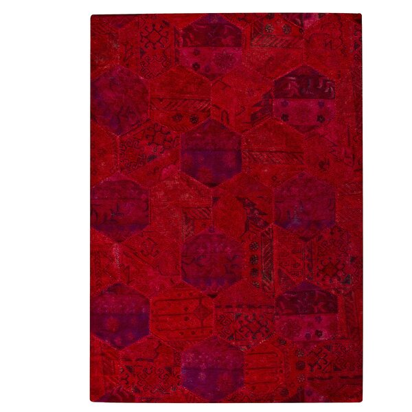 Druitt Honey Comb Tufted Wool Red Area Rug by Latitude Run