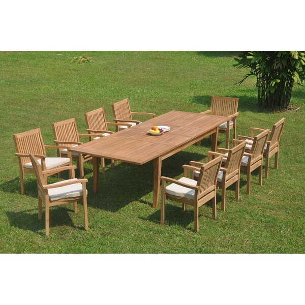 Delvale 11 Piece Teak Dining Set by Rosecliff Heights
