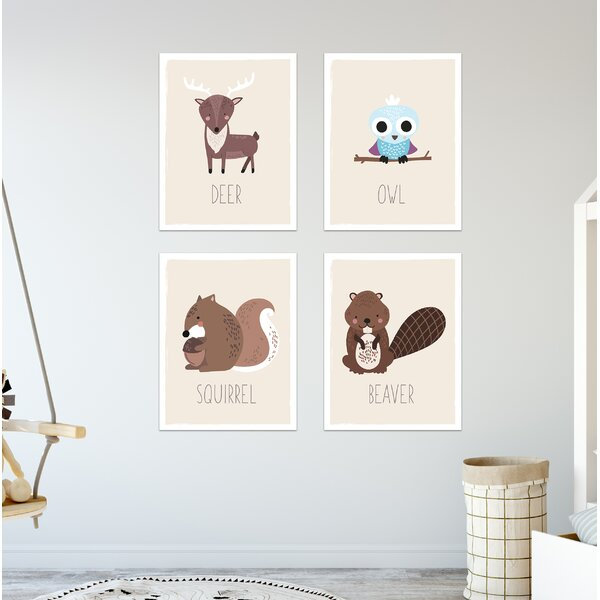 Harwich 4 Piece Forest Animal Paper Print Set by Harriet Bee