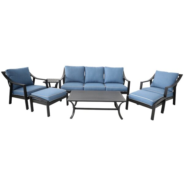 Rolla Outdoor Aluminum 7 Piece Sofa Seating Group with Cushions by Canora Grey