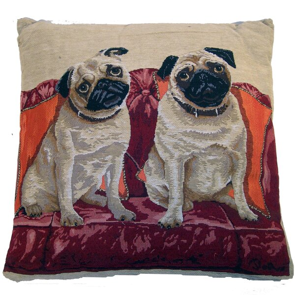 Tapestry Pug Throw Pillow by Elegant Decor