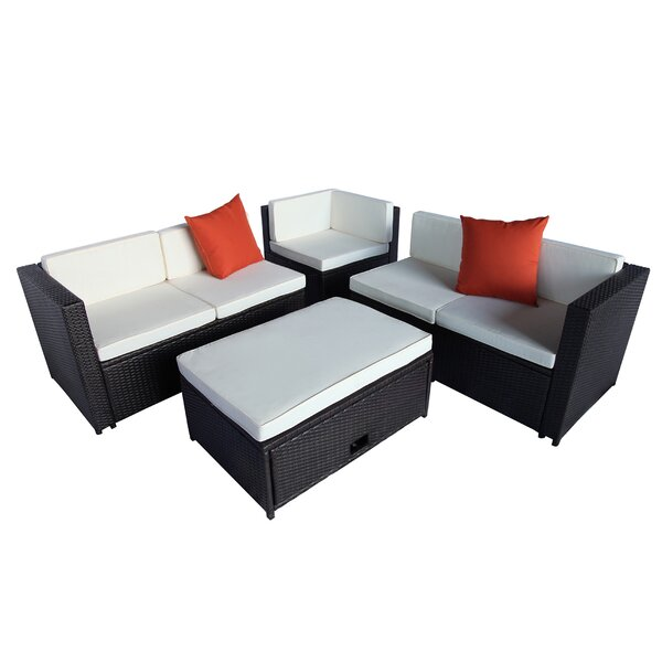 Caroleen 4 Piece Rattan Sectional Seating Group with Cushions by Latitude Run