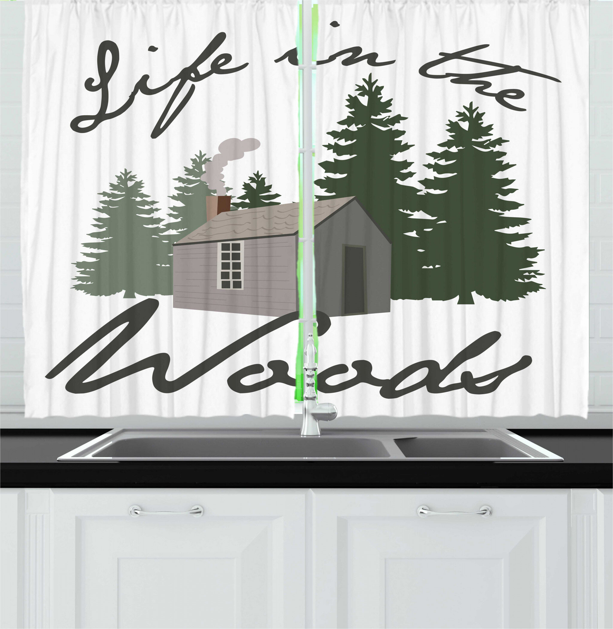 2 Piece Log Cabin Image of a Rustic Lodge in a Forest with Life in the  Woods Message Kitchen Curtain Set